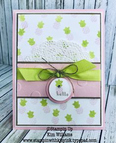 Stampin Up Fruit Basket stamp set and pear punch, pineapple punch and strawberry punch. Kim Williams, stampinwithkjoyink.typepad.com. Pink Pineapple Paper Crafts. Pineapple card and Pear card. Stampin Up Occasions Catalog 2018. Stampin Up Fruit Basket card ideas.