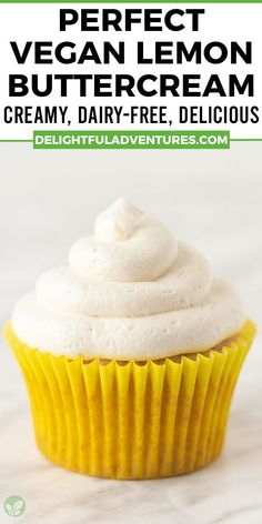 Creamy, dreamy, light, and fluffy vegan lemon buttercream frosting for cakes, cupcakes, macarons, and more! This homemade recipe is easy to make and uses no extract, just 100% fresh lemon juice and zest to get the best and freshest flavour. Once you learn how to make it, you'll want to top everything with it because this American lemon buttercream is the best! Easy Vegan Cake Recipe, Gluten Free Cupcake Recipe, Vegan Cupcake Recipes, Vegan Gluten Free Desserts, Gluten Free Recipes For Breakfast, Homemade Recipe, Vegan Sweets, Sweets Recipes, Vegan Recipes Easy
