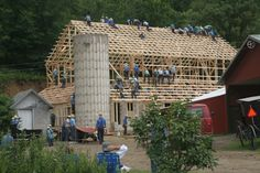 barn-raising shot, by a reader living near a Wisconsin Amish community.  In the accompanying story in the Westby Times, an Amish old-timer explains some of the ins-and-outs of barn-raising, including this interesting technical detail:'Yoder added that it is customary for families involved in a barn raising to provide a dish to pass at lunch, but it is the responsibility of the family whose barn is being constructed to provide the majority of the food and beverages used throughout the day.'