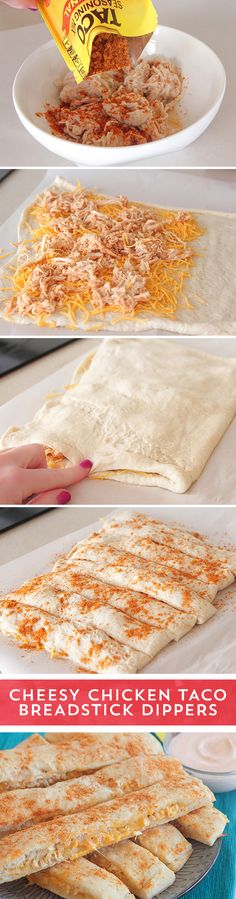 Need a last minute snack for game day? These Cheesy Chicken Taco Breadstick Dippers from @jennyflake are the perfect dish to share! Shredded chicken spiced with Old El Paso™ Taco Seasoning layered with cheese and baked into pizza dough - these snack sticks couldn't be easier to make! They are ready to eat in just 30 minutes - serve with seasoned sour cream for the perfect pairing!