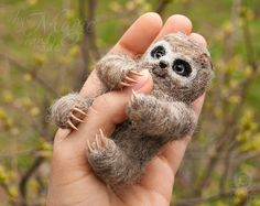 Felted sloth, cute sloth, needle felt animals, sloth gifts, small soft sculpture, wool felt sloth, tiny animal, sloth toy by byMagic on Etsy https://www.etsy.com/listing/227965855/felted-sloth-cute-sloth-needle-felt