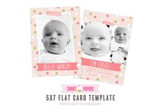 Birth Announcement Template HWG1 by Sweet Papers on Creative Market