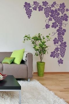 Holding Grapes Wall Sticker. The most simplistic wall design encompassing delectable grape vines intertwined & 123 best Kitchen u0026 Food images on Pinterest   Wall art decal Wall ...
