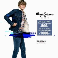 A peppy offer from #Pepe. #Shop and get cool #Gift vouchers. Rush to #Myways and pep up your #Wardrobe. #FashionToday #Style #Trends