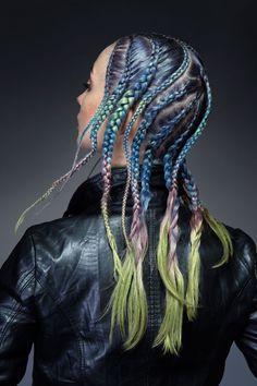 Multi coloured braids #bright #hair