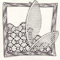 Ein Zentangle aus den Mustern Rivet, Frake, Venetian, gezeichnet von Ela Rieger, CZT