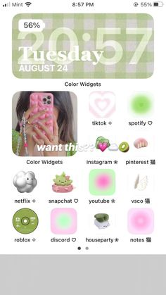 want this?? 💗☁️🥝 pink and green home screen !!