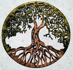 Tree of Life by Humdinger Designs.    This hand painted Tree of Life is 24 inches diameter. Cut from aluminum, and is sealed to ensure long
