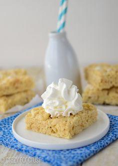 Banana Cream Pie Krispie Treats (use Pillsbury gluten-free pie crust & #glutenfree rice krispies)