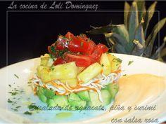 Receta Ensalada de aguacate, piña y surimi con salsa rosa, para Lolioctubre1963 - Petitchef