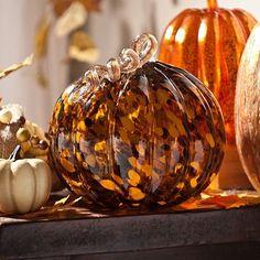 Talk about a posh pumpkin! Our Glass Pumpkin Statue has an incredible two-tone tortoise finish! #kirklands #harvest