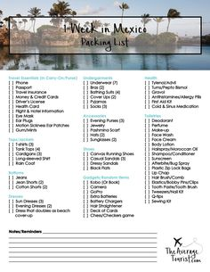 Packing List For Mexico Free Printable What To Pack For