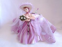 Vintage Lilac Lady Vanity Pin Cushion/Jewelry Holder/Potpourr