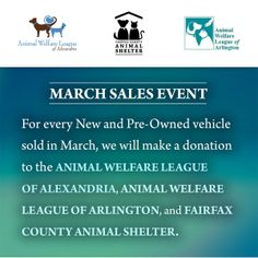 We're excited to partner with the Rosenthal Automotive dealerships and #giveback for March to a trio of incredible charities that save the lives of animals! All month long we'll be supporting The Fairfax County Animal Shelter, The Animal Welfare League of Arlington, and The Animal Welfare League of Alexandria with the purchase of your new or pre-owned vehicle. #CharityTuesday