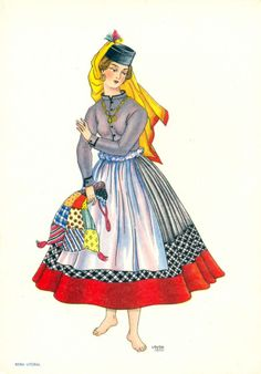 Traditional outfit from Minho - Portugal Isadora Duncan, Traditional Fashion, Traditional Dresses, Laura Costa, Portugal Country, History Of Portugal, Mein Land, Visit Portugal, Folk Costume