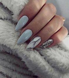 Almond Nails Blue and Grey Nails Marble Nails Silver Glitter Nails Acrylic Nails Gel Nails GlitterBomb almondnails GelNailsFall Marble Acrylic Nails, Almond Acrylic Nails, Acrylic Nail Designs, Fall Almond Nails, Acrylic Gel, Silver Glitter Nails, Gray Nails, Blue Glitter, Glitter Art