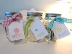 kids money saving jars...we just started something like this with my oldest with his bday money!