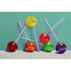 Lollipop painting, still life, original candy painting jeanne vadeboncoeur life Photography Candy Drawing, Food Drawing, Drawing Ideas, Still Life Drawing, Painting Still Life, Sweet Drawings, Gcse Art Sketchbook, Still Life Artists, Candy Paint