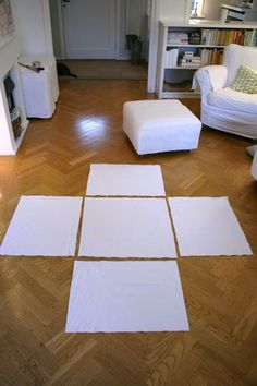 Ottoman slipcover idea-- make a slip cover duh!! Pull it off to throw in washer, great idea for families with kids