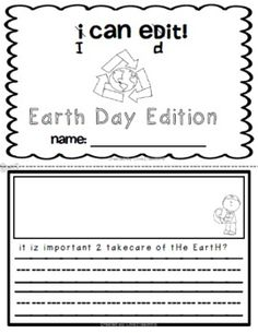I Can Edit! Sentence Editing for Kindergarten and 1st Earth Day Edition. Skills include punctuation, spacing, capital letters, and sight word spelling. Love2TeachKG - TeachersPayTeachers.com