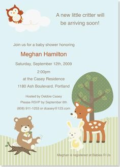 woodland critters baby shower invitation woodland babyshower invitation
