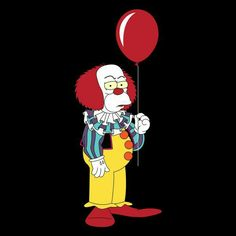Krusty the Clown Pennywise Simpsons Tattoo, Simpsons Drawings, Simpsons Art, Simpson Wallpaper Iphone, Funny Iphone Wallpaper, Cartoon Wallpaper, Morbider Humor, Krusty The Clown, Simpsons Treehouse Of Horror
