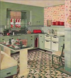 Vintage Kitchen Design and Decor Ideas – Have you been pinning a lot of retro kitchen looks lately? Maybe you've even been thinking about hitting a flea market. If you're ready to take the retro leap, it helps to do a little planning first. 1930s Kitchen, Classic Kitchen, Retro Kitchen Decor, Retro Home Decor, Kitchen Styling, Vintage Kitchen, Retro Kitchens, Retro Vintage, Dream Kitchens
