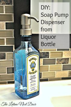 Make a soap pump dispenser from those empty liquor bottles. It's easy, inexpensive and it looks great! You can also find out where to get the pumps.