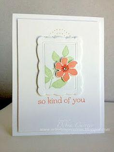 SU! Summer Silhouettes, Designer Frames EB, paper piercing, CAS. Soft, airy, pretty card.