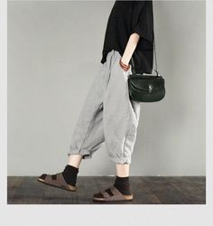 Gray linen pants summer fashion pants