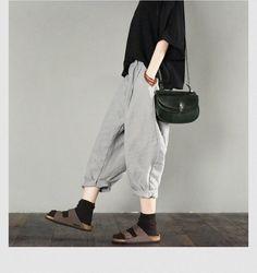 Gray linen pants summer fashion pants