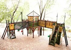Another great outdoor play area...I wonder how hard this would be to build...probably way past my skills/knowledge.