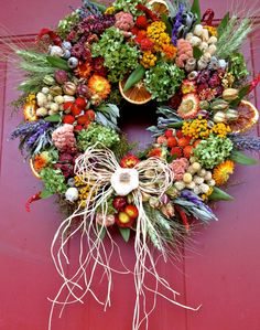 Perfect for the kitchen Etsy listing at https://www.etsy.com/listing/183176549/dried-floral-wreathherb-wreath-kitchen