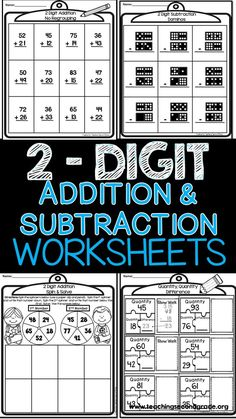 2 Digit Addition and Subtraction with Regrouping by Teaching Second Grade Addition And Subtraction Worksheets, Math Worksheets, Math Resources, Math Activities, Printable Worksheets, Math Games, Subtraction Regrouping, Subtraction Strategies, 2nd Grade Classroom