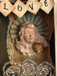 LoVe Mixed Media Altered ArT Assemblage Angel by GoodCharmVintage