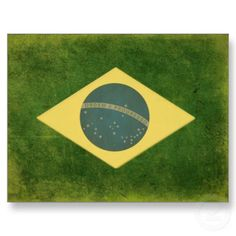 Postcard with vintage flag from Brazil.