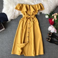 Hot Sexy Dress For Women Brief Button Off Shoulder Ruffle Belted Elegant Summer Dresses Ladies Casual Wear Isabella bowling Prom Dresses Under 50, Girls Fall Dresses, Cheap Dresses, Dresses For Work, Sexy Dresses, Formal Dresses, Wedding Dresses, Long Dresses, Tailored Dresses