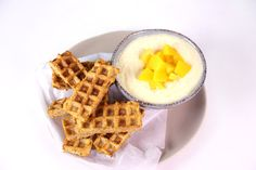 Peaches-n-Cream Waffle Dunkers by National Dairy Council® /Fuel Up to Play 60 use gluten free waffles