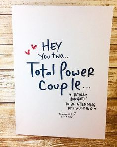 Total Power Couple Wedding Card- power couple, congrats on getting married, funny wedding card, simple wedding card, unique wedding card – funny wedding quotes Simple Wedding Cards, Funny Wedding Cards, Wedding Cards Handmade, Beautiful Handmade Cards, Wedding Quotes, Wedding Humor, Simple Weddings, Wedding Couples, Wedding Gifts