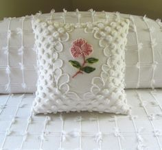 chenille pillow image | chenille pillow ONE ROSE vintage pink chenille pillow cover. $79.00 ...