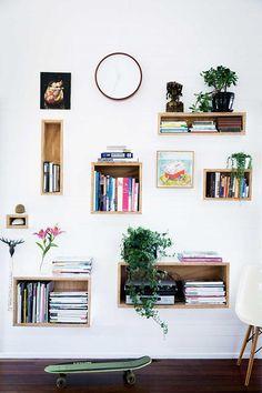 modern floating wood box shelves / sfgirlbybay