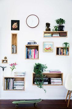 nichos bonitos na parede com plantas e livros