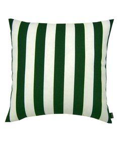 Dark Green Stripe Indoor/Outdoor Throw Pillow