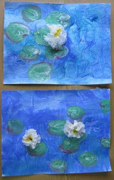 Le thème de l'eau : Les nymphéas de Monet Et voici ce que je vais tenter avec mes élèves afin d'exposer au musée de notre village sur le thème de l'eau ! Je prendrai des photos de nos...