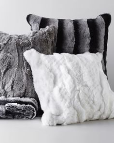Horchow - Adrienne Landau Fur Throw & PillowsRex chinchilla-printed black-and-white throw made of dyed rabbit (China) with cashmere lining; x Pillows made of dyed rabbit (China) with feather/down fill; each, Dry clean. Fur Pillow, Fur Throw Pillows, Faux Fur Throw, Accent Pillows, Decor Pillows, Throw Blankets, Coffee And Books, Rustic Chic, Arquitetura