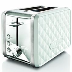 The BELLA Diamonds Collection 2-Slice Toaster is the perfect countertop accessory. Bagel, defrost, reheat and cancel settings with auto-centering guides ensure even toasting. Plus, a slide-out crumb tray minimizes mess.