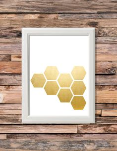 Gold Honeycomb Printable  Artwork - 8x10 Digital Download - Custom Colors Available