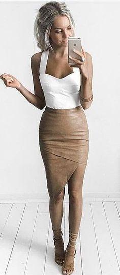 White Bodysuit + Camel Leather Skirt
