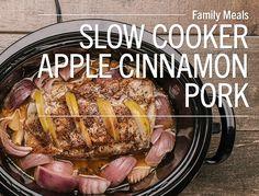 Slow Cooker Apple Cinnamon Pork Loin Roast Pork + apples is such a classic flavor combination! Here we take a Lunds & Byerlys All-Natural Premium Pork Center Cut Boneless Pork Loin Roast, stuff it...