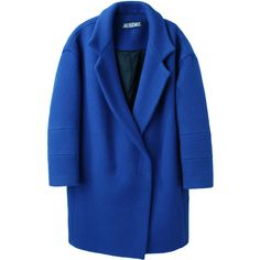 Jacquemus Oversize Coat (18 575 UAH) ❤ liked on Polyvore featuring outerwear, coats, jackets, coats & jackets, oversized coat, royal blue wool coat, blue double breasted coat, wool coat and woolen coat